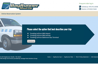 Bayrunner Shuttle Reservation Form Step 1