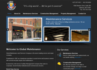 WordPress website design for Global Maintenance & Services