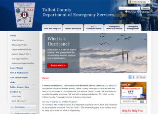 Talbot County Department of Emergency Services website